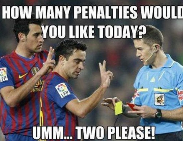 Rather Than Get Fouled Or Perform A Dive Xavi And Sergio Busquets Attempt A More Direct Approach To Earning A Penalty Here Well If You Dont Ask