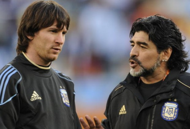 Image result for Diego Maradona with Messi