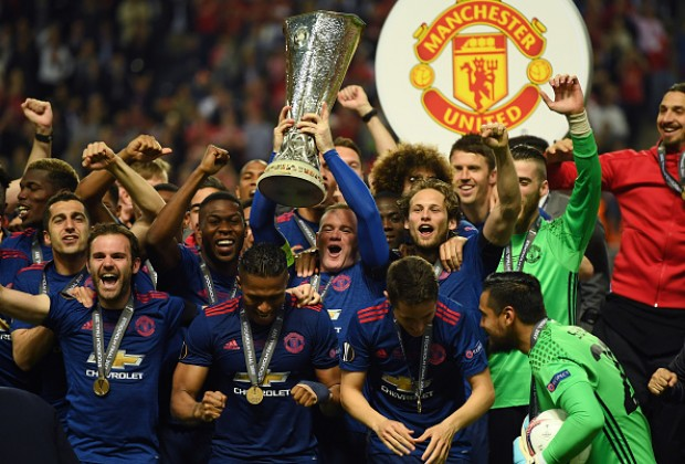 Gallery Manchester United Jose Mourinho Lift Europa League Trophy