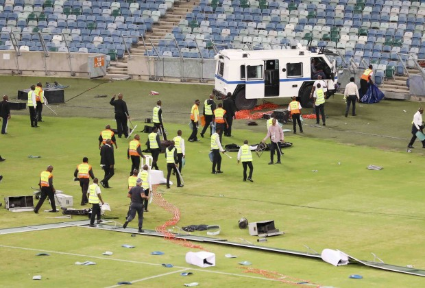 Security guard 'fighting for her life' after Kaizer Chiefs' fans run riot
