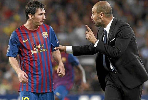 Image result for Pep Guardiola with Leo Messi